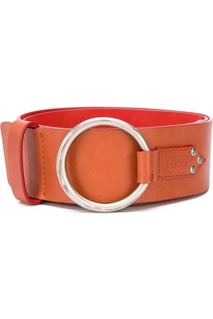 Gianfranco Ferré 1990 metal ring leather belt