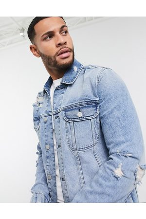 ASOS Muži Džínové bundy - Denim jacket in light wash blue with rips