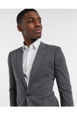 ASOS Super skinny jersey blazer in charcoal-Grey