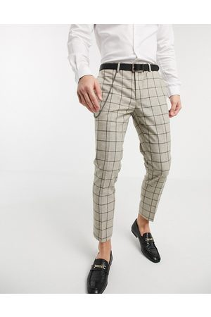 Twisted Tailor Muži Chino - Tapered trousers with chain in stone check