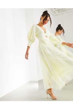 ASOS Blouson sleeve midi dress in organza check-Yellow