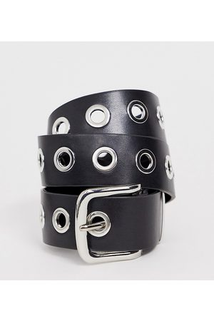 My Accessories London Exclusive waist and hip jeans belt in black with silver eyelets