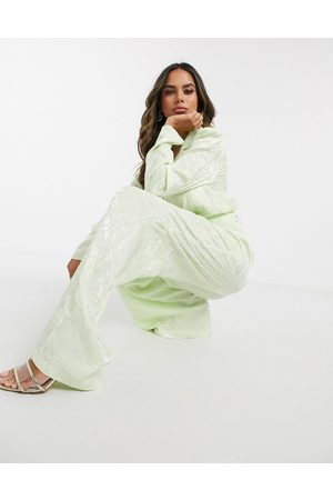 ASOS Cropped wrap soft jacquard suit blazer-Green
