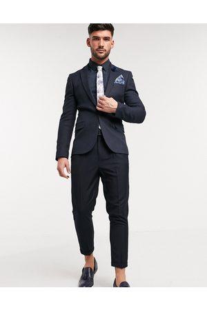 ASOS Wedding super skinny suit jacket in wool look in navy