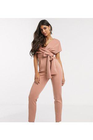 ASOS Ženy Overaly dlouhé - ASOS DESIGN tall fallen shoulder scuba jumpsuit in blush-Pink