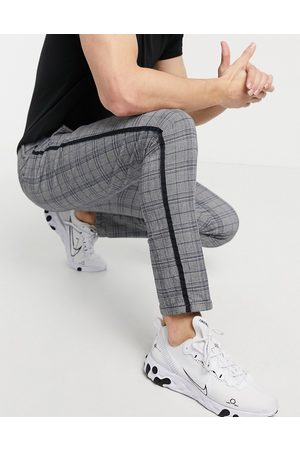 River Island Muži Chino - Skinny smart trousers in grey & blue check