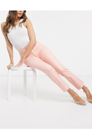 ASOS High rise 'sassy' cigarette jeans in coated pink