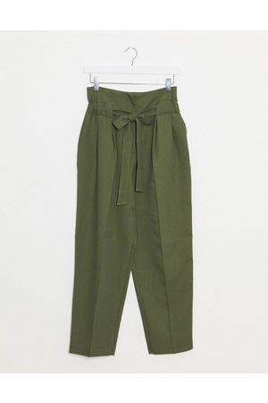 ASOS Tailored tie waist tapered ankle grazer trousers-Green
