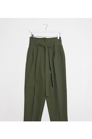 ASOS ASOS DESIGN Petite tailored tie waist tapered ankle grazer trousers-Green