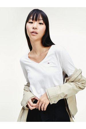 Tommy Hilfiger Ženy S dlouhým rukávem - Dámské bílé tričko s dlouhým rukávem