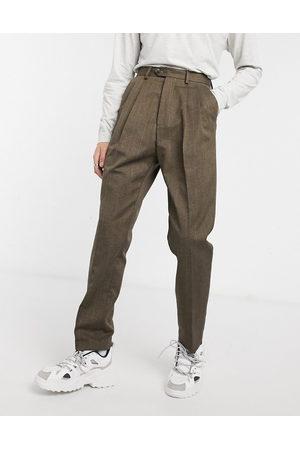 ASOS High waist wide leg trouser in brown stripe