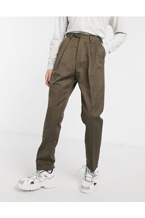 ASOS Muži Chino - High waist wide leg trouser in brown stripe
