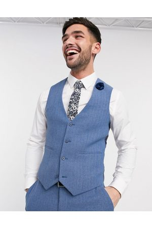 ASOS Wedding super skinny suit waistcoat in cornflower blue wool blend herringbone