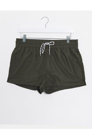 ASOS Swim shorts in khaki super short length-Green
