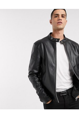 ASOS Faux leather racer jacket in black