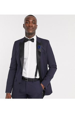 ASOS Tall skinny tuxedo suit jacket in navy
