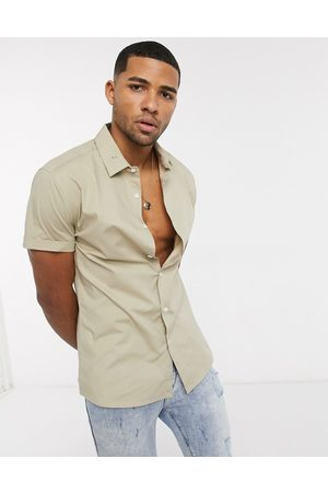 ASOS Stretch skinny fit shirt in short sleeve-Neutral