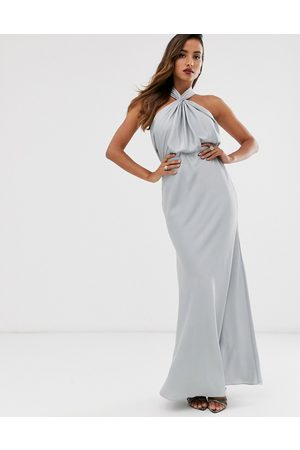 ASOS Satin ruched halter neck maxi dress in ice blue