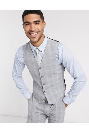 ASOS Wedding skinny suit waistcoat in blue and grey windowpane check