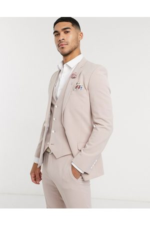 ASOS Muži Saka - Wedding super skinny suit jacket in mink in four way stretch-Purple