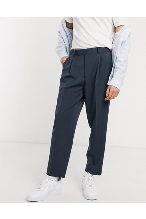 ASOS Muži Chino - Oversized tapered smart trousers in navy