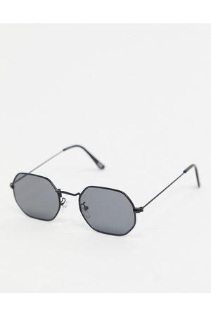 ASOS Muži Sluneční brýle - Angled sunglasses in black metal with smoke lens