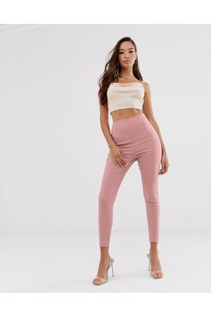 ASOS High waist trousers in skinny fit-Pink