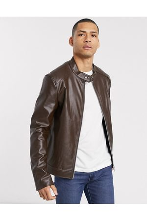 ASOS Faux leather racer jacket in brown