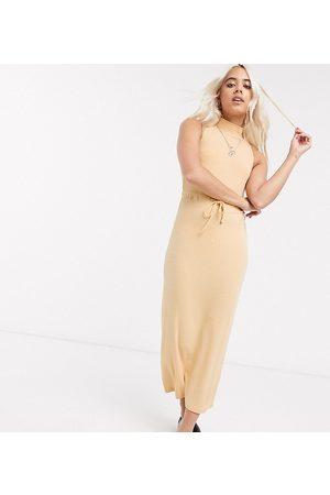 ASOS ASOS DESIGN Petite Exclusive high neck ribbed midi dress with drawstring in mustard marl-Yellow