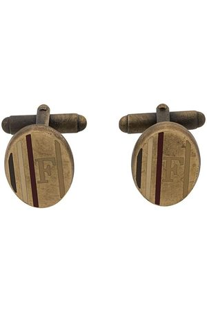 Gianfranco Ferré 2000s logo printed oval cufflinks