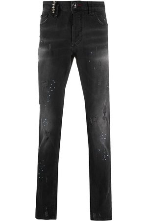 Philipp Plein Denim straight leg distressed jeans