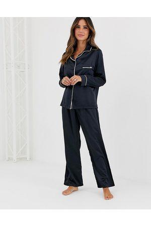 BlueBella Ženy Spodní prádlo soupravy - Claudia Satin Pyjama Set in black