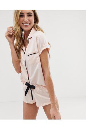 BlueBella Abigail Satin Short Pyjama Set-Pink