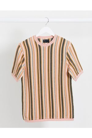 ASOS Muži S krátkým rukávem - Muscle fit knitted t-shirt with vertical stripes in pink-Green