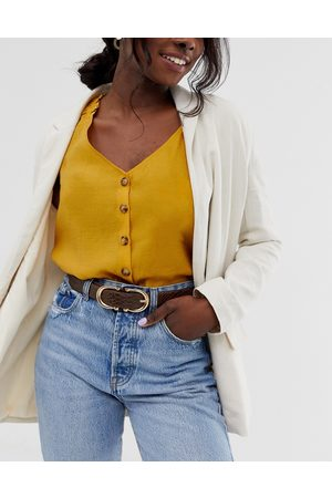 Glamorous Waist and hip jeans belt in brown mock croc with double circle buckle