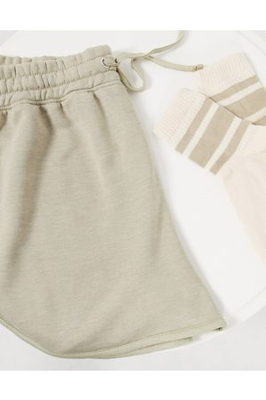 Missguided Co-ord runner shorts in sage grey-Green