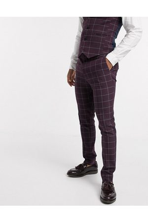 ASOS Wedding super skinny suit trousers in burgundy check-Red