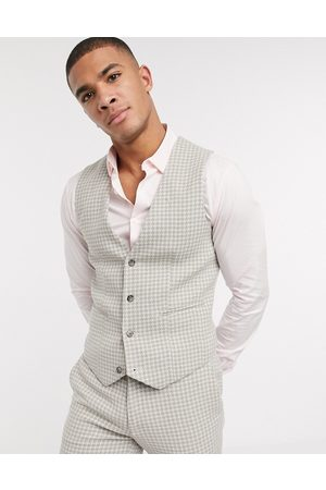 ASOS Wedding super skinny suit waistcoat in neutral wool blend houndstooth-Stone
