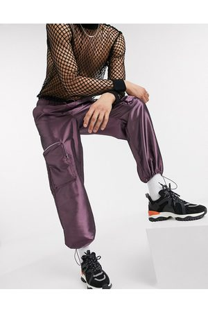 ASOS Wide leg joggers in purple with 3D cargo pockets