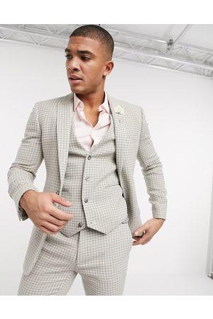 ASOS Muži Saka - Wedding super skinny suit jacket in neutral wool blend houndstooth-Stone