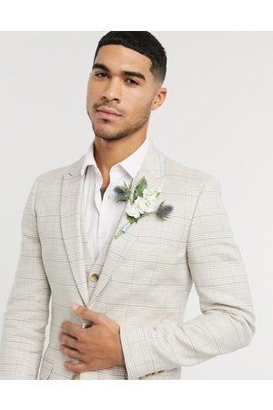 ASOS Muži Saka - Wedding super skinny suit jacket in stretch cotton linen in stone check