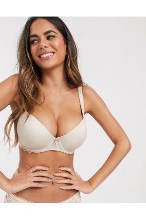 Pour Moi Eden lace trim t-shirt bra in almond-Beige