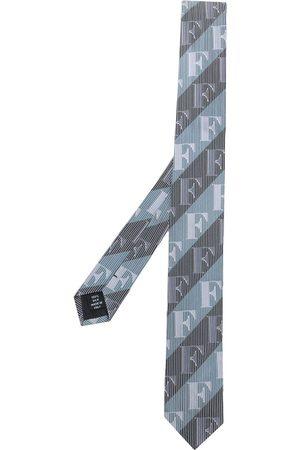 Gianfranco Ferré 1990s diagonal stripe logo neck tie