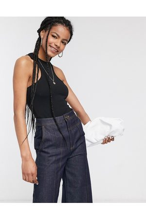 ASOS Ženy Body - Racer front bodysuit in black