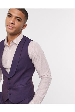 ASOS Wedding skinny wool mix suit waistcoat in soft burgundy twill-Red