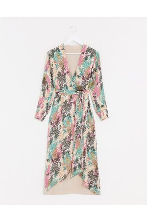 Style Cheat Reversible tie side maxi dress in contrast summer floral print-Multi