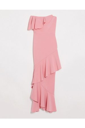 True Violet Bandeau midaxi dress with ruffle detail in coral-Orange
