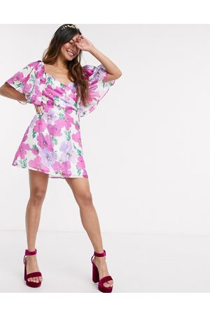 Talulah My Lover floral puff sleeve mini dress-Pink