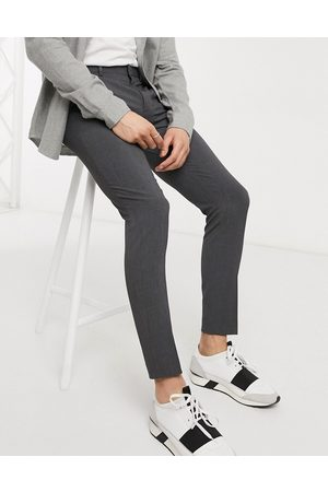 ASOS Muži Chino - Super skinny smart trousers in charcoal-Grey
