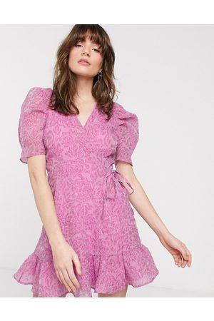 & OTHER STORIES Mini bold shoulder wrap dress in violet-Purple
